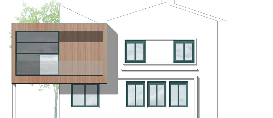 extension bois sur l vation maison toulouse launaguet. Black Bedroom Furniture Sets. Home Design Ideas